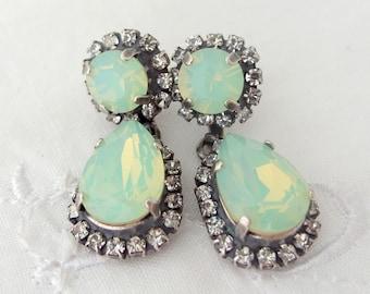Mint earrings,opal earrings,chandelier earrings,Swarovski,Oxidized silver earrings,Dangle drop earrings,Bridal earrings,Bridesmaids earrings