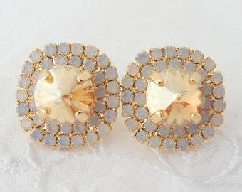 Champagne earrings,Bridal stud earrings, Champagne and white opal rhinestone stud earrings, Bridesmaids jewelry, Crystal large stud earrings