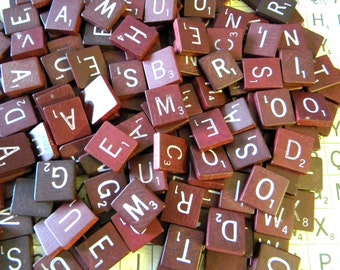 25 Maroon/Red/Burgundy WHITE Letters Wood Scrabble Tiles - Random Picked for Jewelry, Altered Art, Collage, Scrapbooking or Mosaics