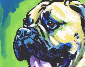 Bullmastiff portrait art print modern Dog pop art bright colors 13x19 giclee print