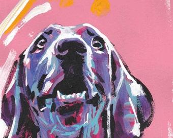 "Weimaraner art print of painting pop dog art modern portrait bright colors 13x19"""