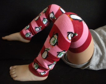Baby Legwarmers Red and Pink Striped Penguins