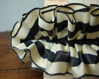 French Country Black and Cream Stripe Ruffle Ribbon Trim