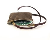 Waxed Canvas Cross Body Pocket Purse - Small Purse with Green Swallows Print Lining
