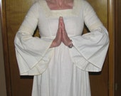 Romantic 70s Gauze Maxi dress with Crochet Lace and  Bell Sleeves XS Small
