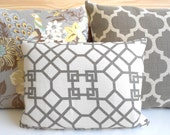 Designer pillow cover, Windsor Smith for Kravet,  haze pelagos,  gray trellis lumbar pillow