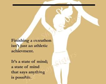 Marathon Girl Inspirational Silhouette  8 x 10 Print Wall art FREE shipping Runner beige Olympics