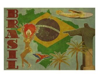 BRAZIL 2F- Handmade Leather Wall Hanging - Travel Art