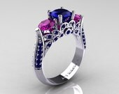 Classic 10K White Gold Three Stone Blue Sapphire Amethyst Solitaire Ring R200-10KWGAMBS