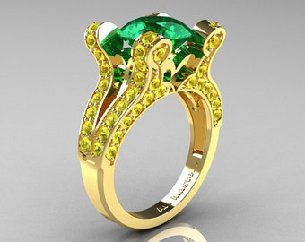 Themis - French Vintage 14K Yellow Gold 3.0 Emerald Yellow Sapphire Pisces Wedding Ring Engagement Ring Y228-14KYGYSEM