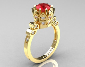 Classic Armenian 14K Yellow Gold 1.0 Rubies Diamond Bridal Solitaire Ring R405-14KYGDR