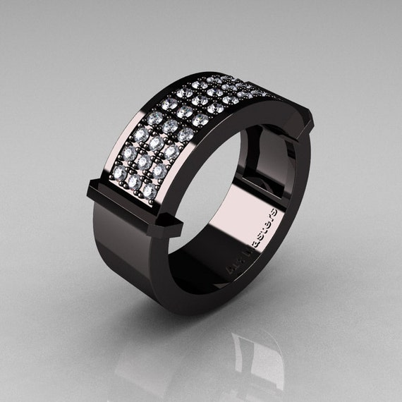 Gentlemens Modern 14K Black Gold 33 Stone Diamond Ring