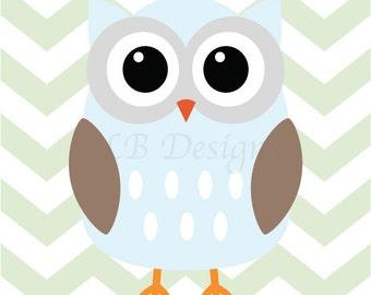 Blue, Mint Green and Brown Nursery, Owl Nursery Print, Woodland Nursery Decor - 8x10