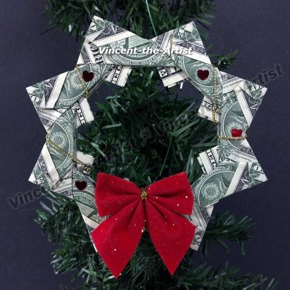 money origami christmas wreath holidays pinterest