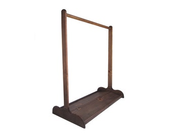 CHILDRENS DRESS UP Stand with Double Sided Shoe Rack / Chocolate Brown Zero Voc Finish / Other Colors Available