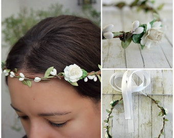 Forest Princess  Floral Halo. Bridal Floral Crown, Flower Crown. Woodland, White Flower, Wedding. Spring, Hair Wreath, Boho, Bridesmaids