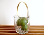 Vintage Modern Crystal Ice Bucket with Gold Handle