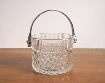 Mid Century Ice Bucket, Icicle Pattern with Chrome Handle, Retro Modern