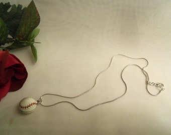 Sale- Sporty Red White Enamel BASEBALL NECKLACE w/ Sterling Silver 925 Snake Chain Necklace- Birthday Gift Him Her Mom Mother Dad Father