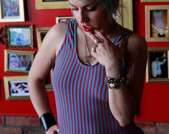 Vtg 80s Striped Bodysuit / Onesie / Ruffle / Leotard Costume