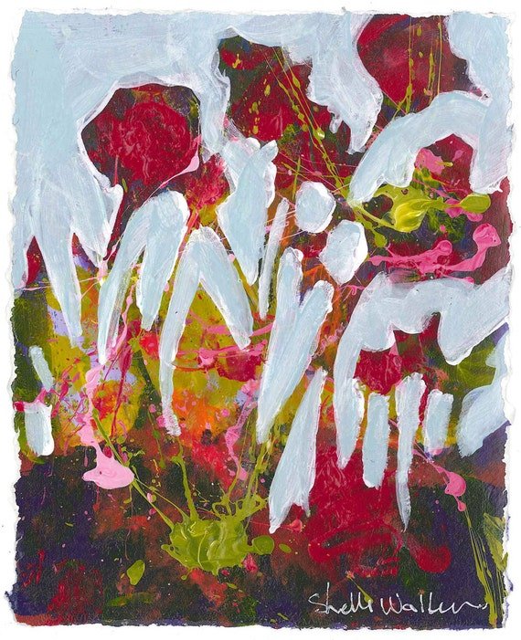 Items Similar To Red Flower Garden Original Painting On Etsy