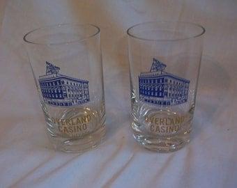 2 Souvenir Overland Casino Reno Nevada Small Tumblers Glasses