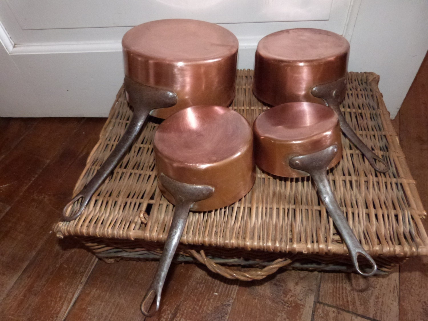 4 Antique French Stamped Copper Pans Pots W Iron Handle