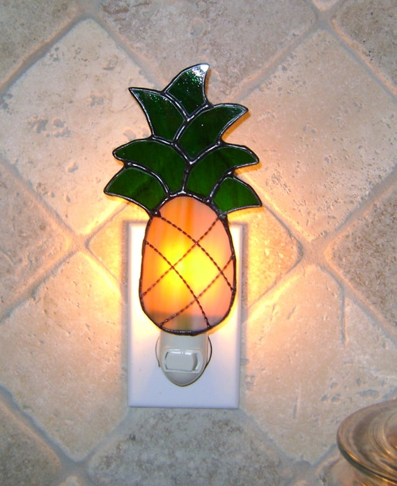 Welcome Home Pineapple Stained Glass Night Light