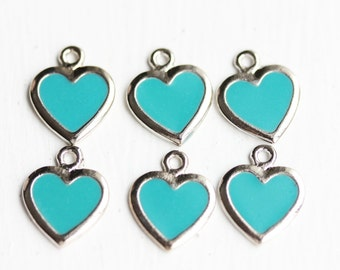 Turquoise Silver Charms, Heart Charms, Blue Heart Charms, Turquoise Charms (6x)