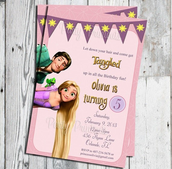 Rapunzel Tangled Invitation Printable for Tangled Themed – Rapunzel Party Invitations