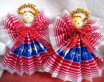 Angels,2 Patriotic, Ready For A Display, A Floral Bouquet or Centerpiece, Clearance Priced