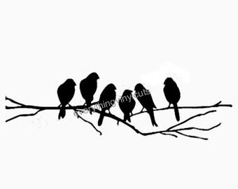 "Vinyl Wall Art ""Birds on Branches"" 24""x6"""