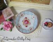 Blue Shabby Rose Dollhouse Plate