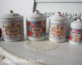 Retro Kitchen Dollhouse Canisters 1/12 Scale