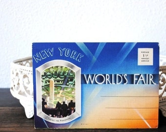 1939 Worlds Fair New York Art Deco Postcard Set, 18 Litho Unused Linen Post Cards