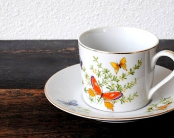 Vintage Butterfly China Tea Cup and Saucer, Retro Red Orange Yellow & Blue Butterflies