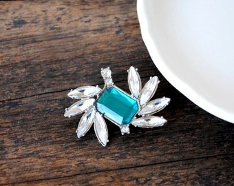Teal Blue Crystal Pin, Antique Emerald Cut Diamond Faceted Rhinestone, Vintage Wedding Jewelry Brooch