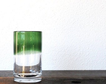 Mid Century Modern Art Glass Vase, Cylindrical Emerald Green Hand Blown Fade Pontil