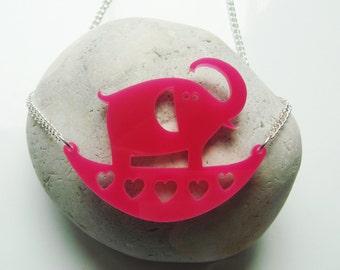 Julie the rocking Elephant acrylic necklace