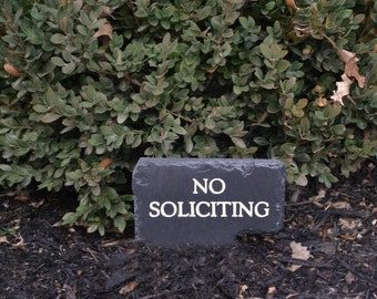 REMOVABLE No SOLICITING Slate Sign / Flower pot Stake /Carved Stone /Solicitors Landscape Garden #MA