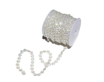 66 Feet Iridescent Acrylic Beads Roll Garland for Wedding Centerpiece Decorations and Party Decor