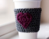 Valentine's Day Crochet Coffee Cup Cozy - Slate Gray with Ruby Heart - Coffee Sleeve