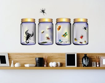 SCHOOL Insects in Four Glass Bottles Scorpion Ants Bugs Butterflies Bee Wasp Arachnid Spider Wildlife Bugs Wall Decal 60x20 larg291