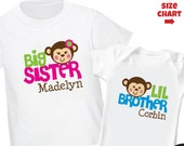 Monkey Big Sister Shirt & Monkey Little Brother Shirt or Bodysuit - 2 Personalized Sibling Shirt