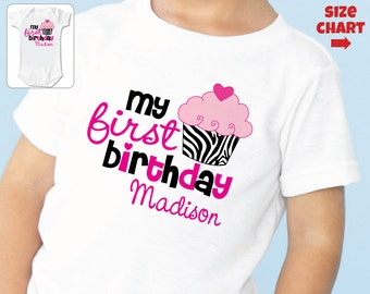 Zebra Print 1st Birthday Shirt or Bodysuit - Personalized Zebra First Birthday Outfit