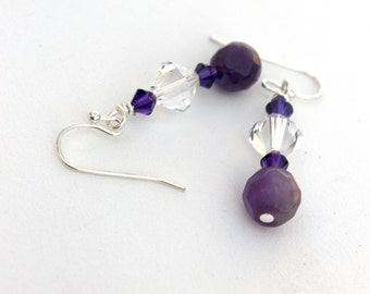 Amethyst earrings, Swarovski crystal earrings, February birthstone earrings, purple jewelry, gemstone earrings