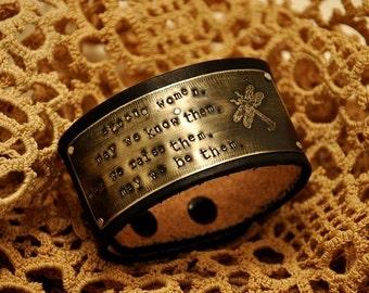 Strong Women Bracelet Cuff, Leather Bracelet Cuff, Inspirational bracelet, Dragonfly Bracelet, copper cuff, silver cuff, brass cuff