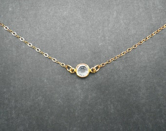 Bridal Jewelry, GOLD OR SILVER Necklace,  Swarovski Crystal, Simple, Small, Gift for her, Wedding Jewelry, Minimalist, Modern, Bridesmaid