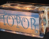 Beach Theme Your Name in Lights Glass Block