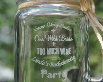 Bachelorette Party Mason Jars - Personalized